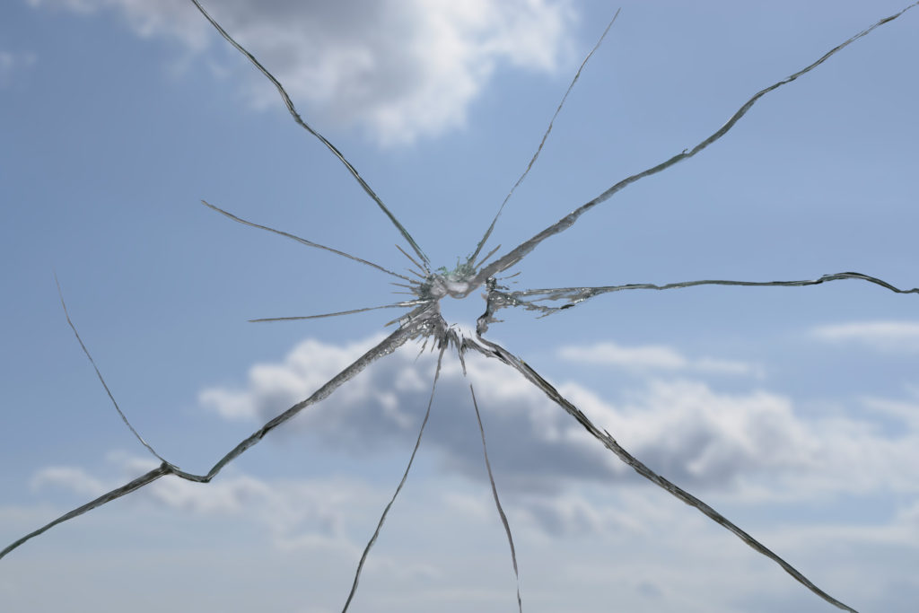 A crack on a windshield
