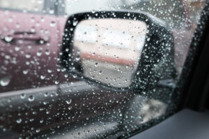raindrops on a car side window