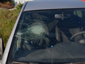 a car with a cracked windshield